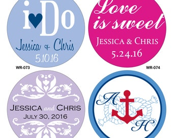 40 - 4 inch Custom Glossy Waterproof Wedding Stickers Labels - hundreds of designs to choose - change designs to any color or wording