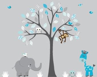 Childrens wall decal tree nursery sticker decal animals