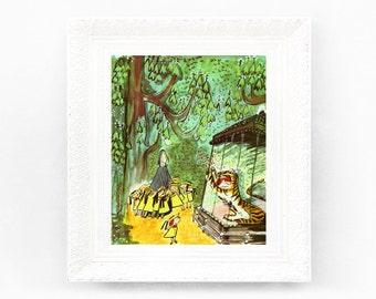 8x9 Vintage Madeline Print. Original French Book Plate Illustration. Tiger Zoo Brave. France Paris Ludwig Bemelmans mb1 PRE ORDER
