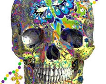 Mardi Gras Ornate Skull Oddities Bones - Sugar Skull - Day of the Dead - Digital Image Vintage Art Illustration