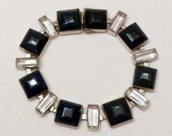 Sale Link Bracelet Blue Sodalite Crystal Modernist Silver Tone 7 Inch Vintage 1930s