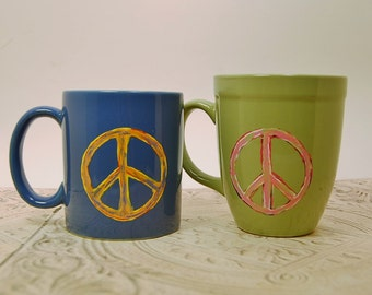 Peace Sign Mugs Chartreuse Azure Blue