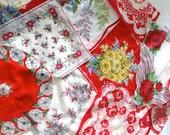 Baby Blankie, soft crib quilt, Hanky Blanky vintage flowery handkerchiefs, reds, yellows,  blue hankies