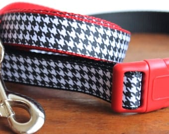 Dog Collar and Leash in Houndstooth