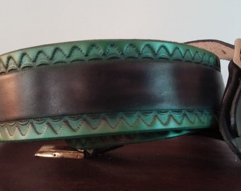 Metallic Green and Black Airbrushed Leather Guitar Strap