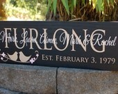 Custom family sign with family last name, first names, est date, birds on a branch - personalized - wood sign in colors of your choice