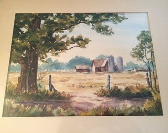 Art/Framed Watercolor/Vintage/1959