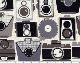 Cameras - Neutral Cotton Print Fabric from Michael Miller