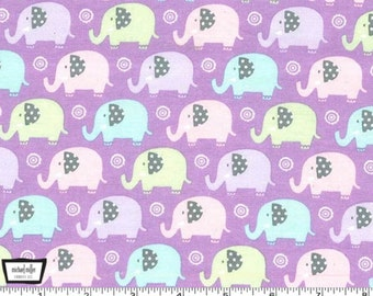 Mini Elephants - Lilac Cotton Flannel Fabric from Michael Miller