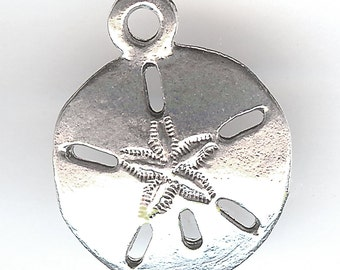 ONE - Sterling Silver Plated Charm. 3D Sand DOLLAR. Seashell. Made in the USA.