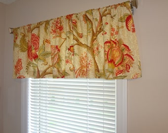 SALE Richloom Floral Curtain Valance Topper Window Treatment 54x15 Burgandy Green Floral Window Valance