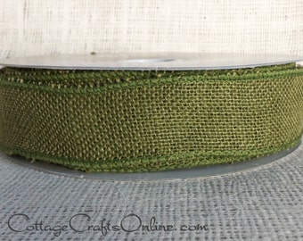 "Burlap Wired Ribbon, 1 1/2"" wide, Dark Green Natural Jute - THREE YARDS - Offray Moss Olive Rustic Craft Wire Edged Ribbon #9"