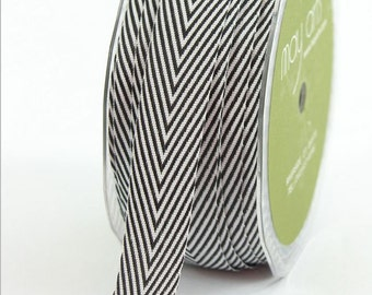 "Black Chevron Twill Tape, 3/4"" Wide, Striped Ribbon, THIRTY YARD ROLL - May Arts - Halloween / Packaging / Craft Ribbon, Sewing Trim"