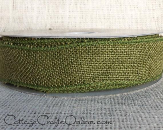Burlap wired ribbon 1 1 2 wide dark green natural jute for Green burlap ribbon