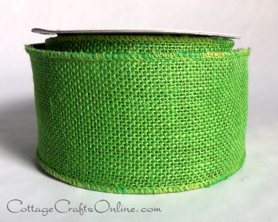 "Burlap Wired Ribbon 2 1/2"" Lime Green , TEN YARD ROLL, Offray Natural Jute Green Apple, St. Patricks, Easter, Christmas Wire Edge Ribbon"