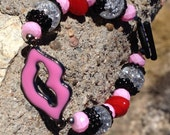 Valentine Bubblegum Pink, Black and Red Lips Bracelet Valentine Sparkle by Monica