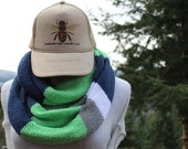 The Bee's Knees!!! Seahawks Inspired Double Loop Soft & Slinky Knotty Knitted Infinity Scarves