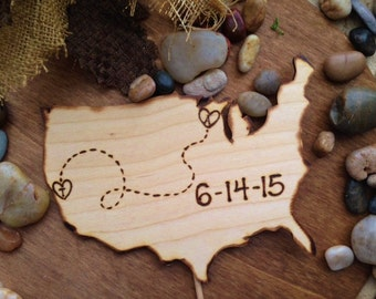 Wedding Cake Topper in the shape of the USA Long Distance Couples YOUR States Hearts & Your Initials Large Wedding Decoration Distance
