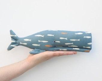 Stuffed whale toy softie plush teal blue ORGANIC cotton child friendly toy sea creature animal seaside nautical nursery decor baby shower
