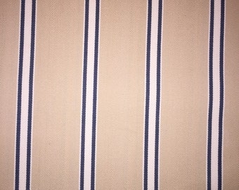 "3 Yards of Decorator Fabric 54"" Wide - Beige with Blue Stripe - Window Treatments, Crafts, Sewing, Pillows, Cushions, Home Decor"