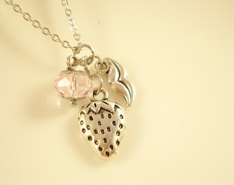 Cute Strawberry Mix Charm Drop Silver Tone Necklace for Party/ Christmas Gift/ Re-sale  NC423