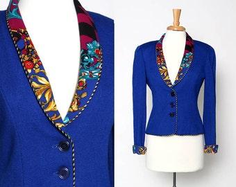Vintage 80s 90s Royal Blue Jacket Blazer Patterned collar cuffs