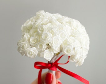 144 Ivory Miniature Satin Roses Bouquet / 12 Dozen Flowers / Bridal / Floral / Wedding Favors / Millinery / Wedding Invitations