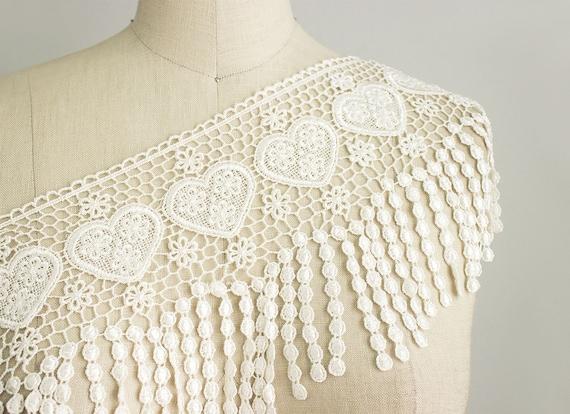 Julia Ivory Hearts Venetian Lace Trim / Large Venise Lace Fringe Trim / Bridal / Dangle Lace Trim
