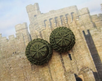 Antique Handmade Needle Lace Buttons Dark Olive Green On Silk Satin