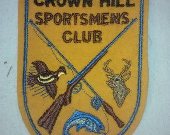 "Vintage 1950's  ""Crown Hill Sportsmen's Club""  Jacket Patch ,  Embroidered"