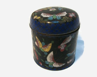 Antique Cloisonne Box w Lid , Made in China , Butterflies ,  1930