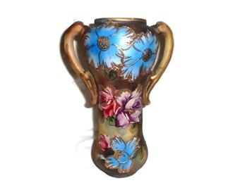 Art Nouveau Vase , Hand Painted , Urn Handles