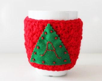 Christmas tree cup cozy, Initial cup cozy, Personalized mug warmer, initial crochet mug cozy, custom crochet cup cozy, crochet coffee sleeve