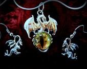 Jewelry Set, Dragon Jewelry, Dragon Charm, Gothic, Gothic Jewelry, Steampunk Jewelry, Fantasy Jewelry, Dragon's Eye Necklace