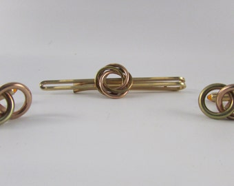 Vintage Krementz USA Two Toned Gold Tone Tie Clip and Cuff Links, Vintage Men's Jewelry, Vintage Tie Tack