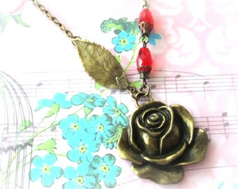 Flower charm necklace red crystal bead jewelry rose flower with leaf necklace antique brass bronze vintage style red rose necklace