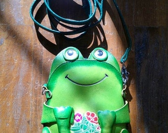 Leather Frog Women Bag, Leather Bag, Handbag, Clutch, Leather Cross Bag, Frog Bag, Cross Body Bag