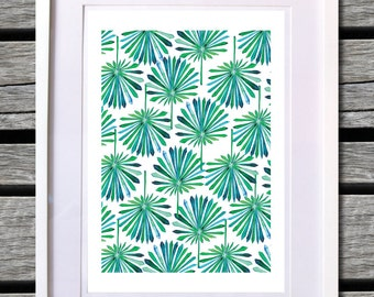Tropical fan leaf Watercolour print- A3 ( 11.7 x 16.5 inches)
