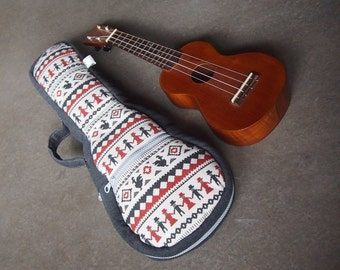 Soprano ukulele case -  Red and grey Stripe Ukelele Case with removable strap. (Made to order)