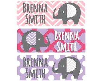 Waterproof Girl Name Labels, Girl Name Labels, Elephant Girl Name Stickers, Elephant Waterproof Labels, Girl, Pink, Purple