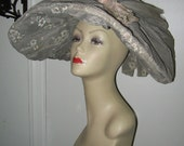 HUGE VINTAGE SUN Bonnet, Edwardian, Southern Belle, 1890's Victorian Style Sun Hat