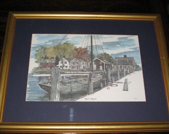 MYSTIC SEAPORT WATERCOLOR Print by Tyler, Sailing Ship, Whaling Maritime Nautical History