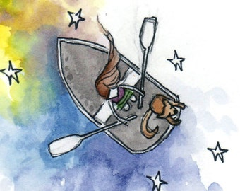 Starry Waters with a Friend - Boating with a Dog - Friendship - Watercolor and Pen Art