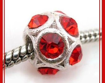 Beautiful RuBY RED - JuLY Birthstone - Charm Bead with Rhinestones -  fits European Bracelets - MG-2225