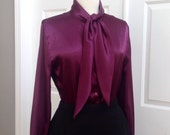 Reserved for Mesha 90s Purple Satin Bow Tie Blouse - Medium / Large