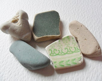 Very unusual green sea pottery mix - 5 lovely English beach find pieces