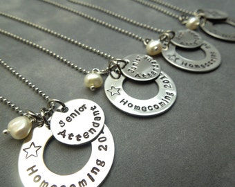 Homecoming court, personalized Necklace set of 4- hand stamped stainless steel