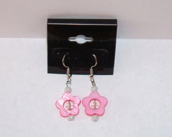 """1"""" L  x  1/2"""" W   Pink Shell Flowers w/ Matching Crystal Earrings"""