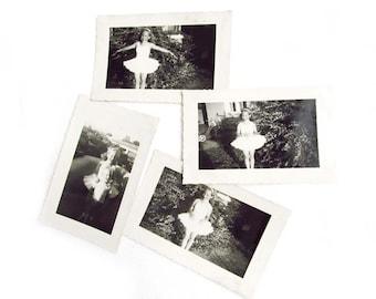 Pictures Ballerina Girl Photos 1950's Black & White Photographs Young Girl Wearing TuTu Sequence of Ballet Photos 5.25 x 3.25