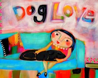 "Dog Love, 11""x 14"" print"